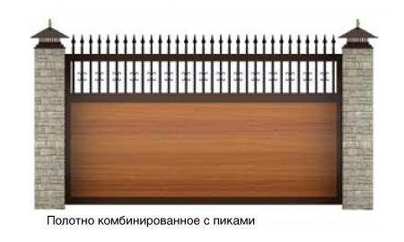 откатные ворота с комбинированным полотном